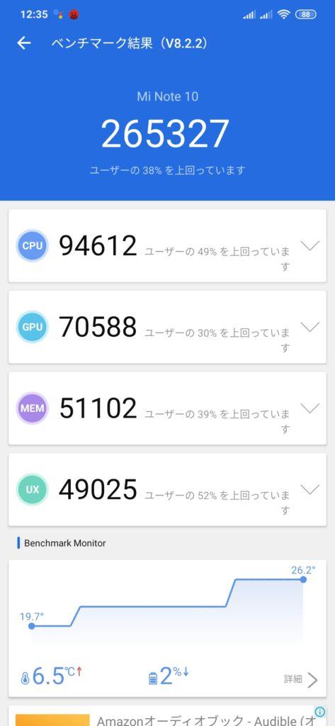 Mi note 10のベンチマークテスト結果