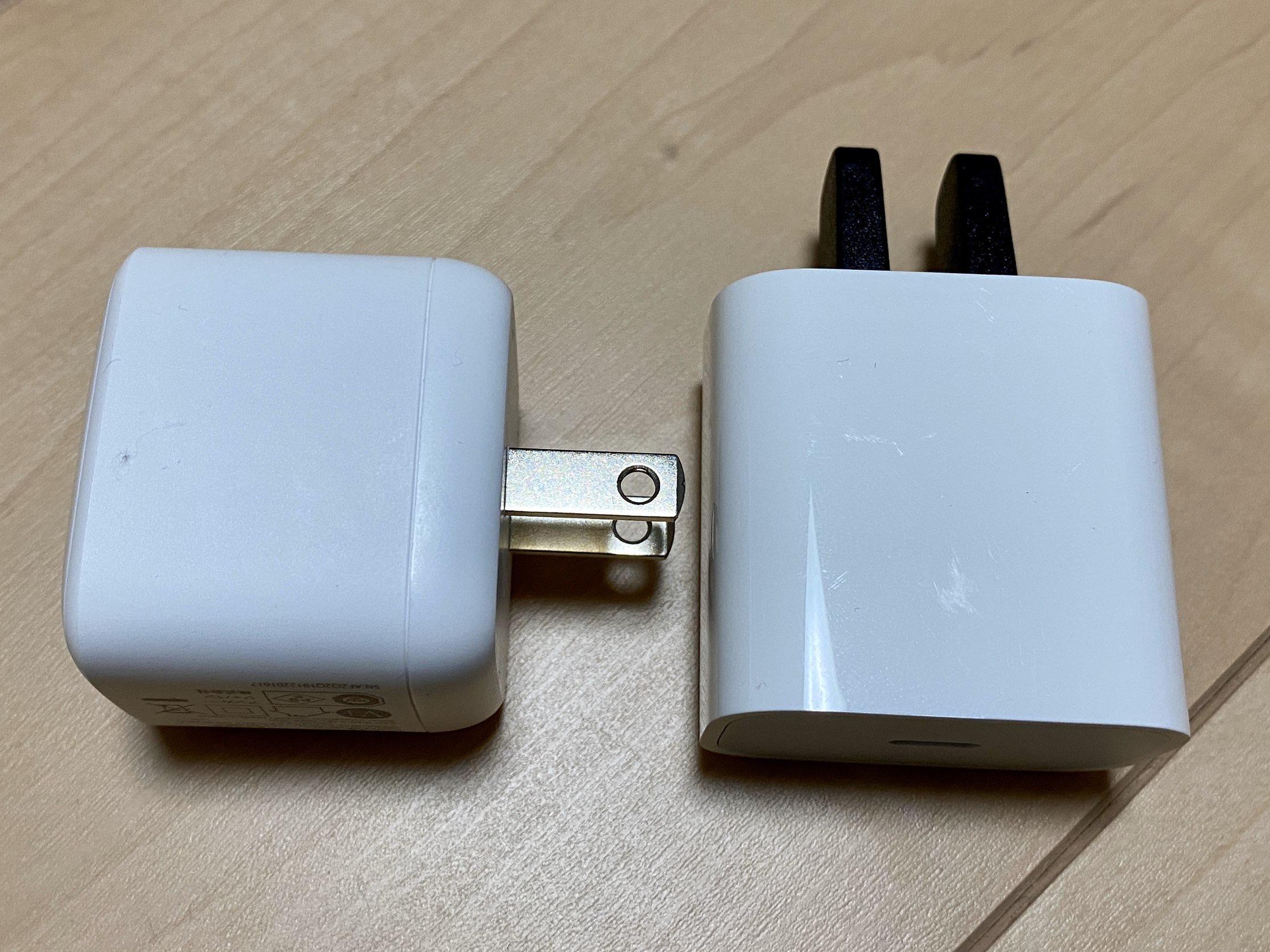充電器をiPhone付属品と比較