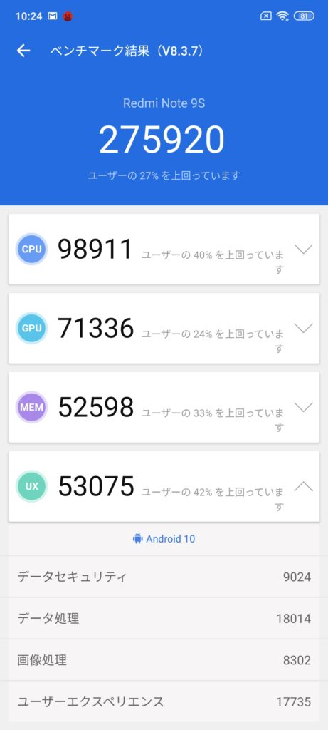 Redmi Note 9Sベンチマーク