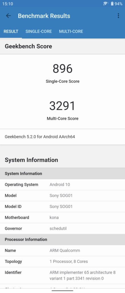 GeekBench5 Xperia 1 II