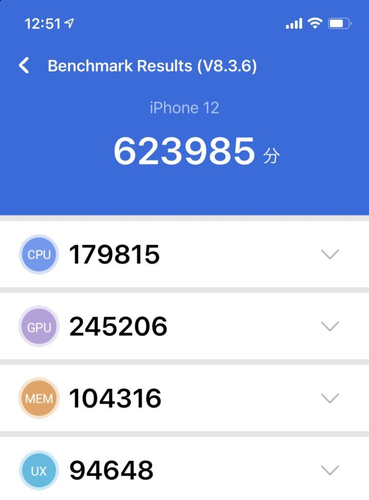 iPhone 12無印ベンチマークテスト