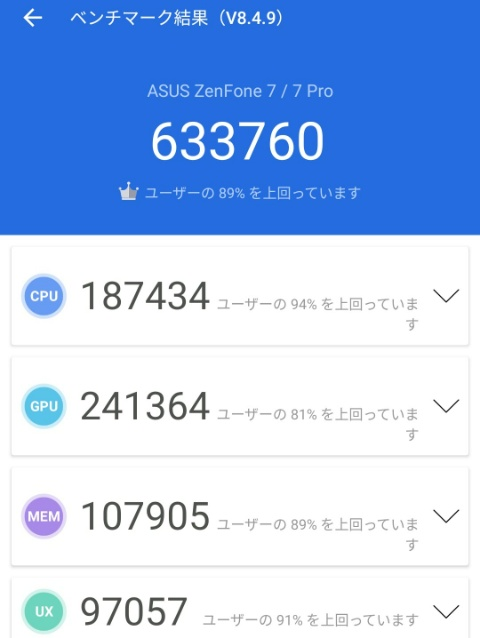 ZenFone 7 ProAntutuベンチマークテスト